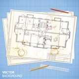 Architectural papers with sketches and pencils Royalty Free Stock Image