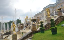 Architectural Park ensemble of Peterhof royalty free stock images