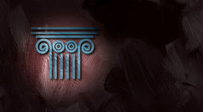 Architectural pediment on brush stroke texture background. Graphic illustration of Architectural column top, a conceptual symbol of the legal system, laws and Royalty Free Stock Photography