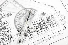 Architectural pen and tools on blueprint. Architectural pen and tools on a generic architectural plan stock photography