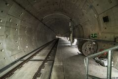 Architectural Photo of Train Tunnel Interior Stock Image
