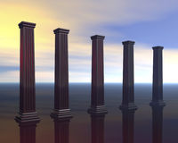 Architectural pillars. A conceptual image of a row of large architectural pillars rendered against a beautful evening sky Stock Image