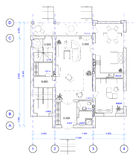 Architectural Plan of 1 floor of house Stock Images