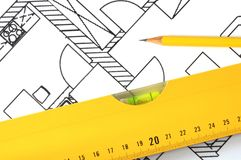Architectural plan. Architectural drawings and tools. Concept of home architecture Royalty Free Stock Image