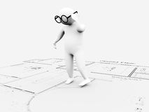 Architectural plan. 3d man and white background Royalty Free Stock Images