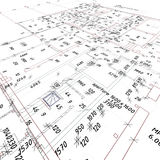 Architectural plan. The architectural plan of the industrial building Stock Images