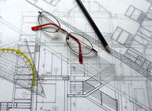 Architectural plan. S with a ruler, glasses and a pencil Royalty Free Stock Photos