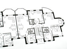 Architectural plan. Closeup of an architectural plan Royalty Free Stock Image