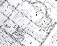 Architectural plan. Printout of architectural plan drawing stock image
