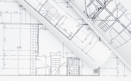 Architectural plan. Architect rolls and architectural project plan Royalty Free Stock Photos