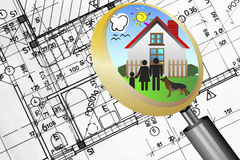 Architectural plan blueprint real estate business concept with magnifying glass lens happy family. And dream house stock illustration