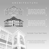 Architectural plan of building with specification. Architectural plan of building facade with terrace, cottage drawing detailed specification, on white. Vector Stock Photo