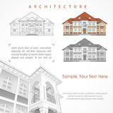 Architectural plan of building with specification. Architectural plan of building facade with terrace, cottage drawing detailed specification, on white. Vector Royalty Free Stock Photos