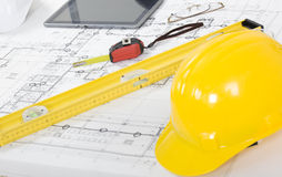 Architectural plan close up Royalty Free Stock Photo
