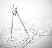 Architectural plan with compass Royalty Free Stock Photos