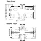 Architectural plan of a double decker house. Black and White architectural plan of a double decker house. Layout of apartment with furniture in drawing view Royalty Free Stock Photos