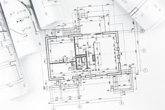 Architectural plan drawings Stock Photography