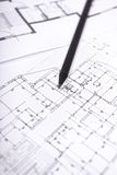 Architectural plan of dwelling house with  pencil Stock Images