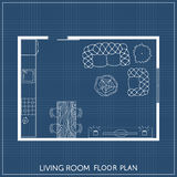 Architectural Plan with furniture in top view Stock Image