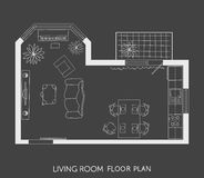 Architectural Plan with furniture in top view Royalty Free Stock Photos