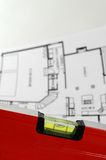 Architectural plan of home. Water level and architectural plan , home building concept Royalty Free Stock Photo