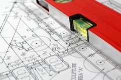 Architectural plan of home. Water level and architectural plan , home building concept Stock Photos
