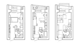 Architectural plan of a house. Layout of the apartment with the furniture in the drawing view. Stock Photos