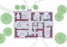 Architectural plan of the house. Top view with furniture. Vector illustration. stock illustration