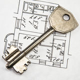 Architectural plan and key Stock Photo