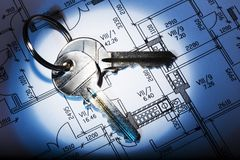 Architectural plan and keys Stock Photos
