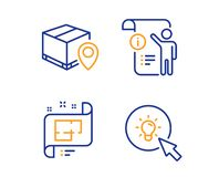 Architectural plan, Manual doc and Parcel tracking icons set. Energy sign. Vector. Architectural plan, Manual doc and Parcel tracking icons simple set. Energy stock illustration