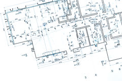 Architectural plan, part of architectural project, technical dra Stock Photos