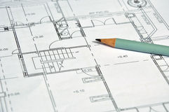 Architectural plan and pencil Royalty Free Stock Images