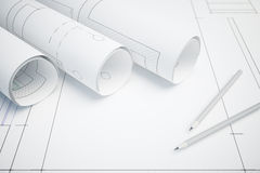 Architectural plan and pencils Royalty Free Stock Image