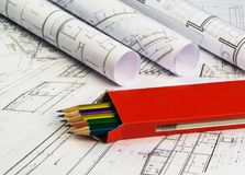Architectural plan with box of pencils ,technical project drawin. Architectural plan with red box of pencils ,technical project drawing. Architecture planning royalty free stock image