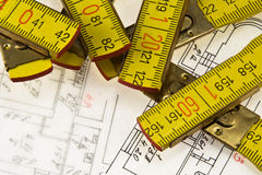 Architectural plan and ruler Stock Image
