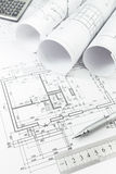 Architectural plan and tools Royalty Free Stock Images
