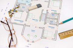 Architectural plan with tools Stock Images