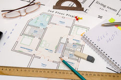 Architectural plan with tools Royalty Free Stock Images