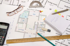 Architectural plan with tools Royalty Free Stock Image