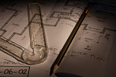 Architectural Plans. With a pencil and ruler Royalty Free Stock Photos