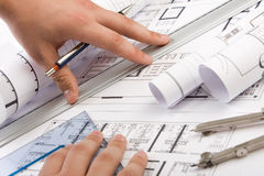 Architectural plans Stock Photo