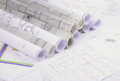 Architectural plans Royalty Free Stock Photos