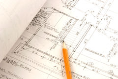 Architectural plans. A diplay of architectural plans with pencil Royalty Free Stock Images