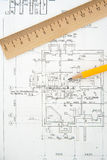 Architectural plans and blueprints Royalty Free Stock Photography