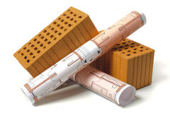 architectural plans and bricks Stock Photos