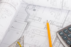 Architectural plans concept Royalty Free Stock Images