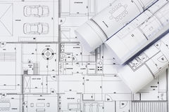 Architectural plans. On the desk stock photos