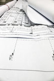 Architectural plans on display Stock Photography