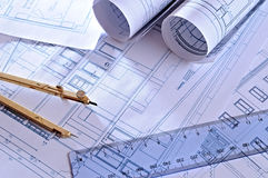 Architectural plans of a dwelling top view Royalty Free Stock Image